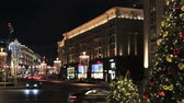 decorated for the holiday of new year and Christmas on the streets Moscow. Time lapse