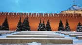panorama of the Moscow Kremlin and the Kremlin wall in the winter evening Stock Footage
