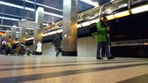 modern station and metro trains of the big city. modern subway station. timelapse. Motionlapse