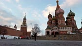 tourists walk near St. Basils Cathedral (Pokrovsky Cathedral). Motionlapse. Timelapse
