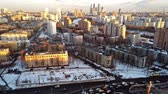 futuristic buildings : view of the evening city of Moscow from a height. Beautiful sunset over the city. timelapse. Motionlapse