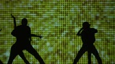 шпагат : Silhouette of ballet, which performs at the big stage