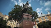 imperial : Lviv, Ukraine - September 21, 2017. Statue of a man riding a horse on the old city square. King Danilo Galitsky.