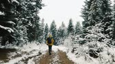 crazy : Man in yellow jacket runs up along the path among the mountains covered with snow. Winter time Stock Footage