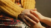 close up : Old woman young woman hold hand wrinkle skin close up