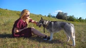 sunny side up : Profile of happy girl with blonde hair sitting on green grass at meadow and playing with her pet. Female owner spending time together with her siberian husky dog at nature. Side view Close up Stock Footage