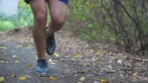 coureur : Close up legs of sporty man running along trail in early autumn forest. Male feet of young athlete jogging along path at nature. Strong sportsman exercising outdoor. Healthy active lifestyle. Slow mo