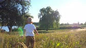 scène rurale : Little child with blonde hair walking on green grass at the field on a sunny day. Baby enjoying nature at the meadow. Beautiful landscape at background. Concept of childhood. Rear back view Close up Vidéos Libres De Droits