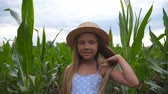 olhares : Attractive small kid looking into camera and straightening her long blonde hair against the background of corn field. Portrait of happy smiling girl in straw hat standing in the meadow. Close up Stock Footage