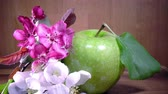 carmesim : Apple tree flowers white and crimson with leaves and green ripe apple