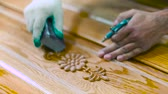 furniture : Sanding wood carving in workshop