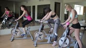 fitness : Start of group sessions on exercise bikes