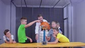 static electricity : Boys explores van de graaff generator in scientific museum Stock Footage