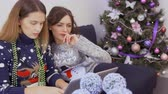 online : Two beautiful girls searches Christmas gifts in the online store