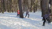 kavga : Cute brothers play snowballs in winter park Stok Video