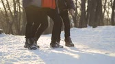 wintertime : Jumping legs of three boys, slow motion, winter park