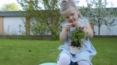 vime : Cute little girl with basket of flowers Vídeos