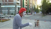 gesticulando : Mime gesticulate hands and has fun on camera Stock Footage