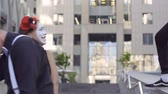 gesticulation : Funny mime want to scare his friends