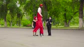 throw away : Company of mimes do perfomance in park