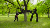 stilts : Mime and street artists fooling around in the park