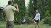 soap bubbles : The child runs for soap bubbles Stock Footage