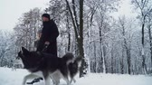 fiel : Beautiful couple walking together with two cute siberian fluffy huskies in the winter snowy forest