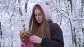jorkšírský : Portrait pretty young girl with long hair covered with a hood holding a yorkshire terrier dressed in wool sweater on hands in a winter snow-covered park. Teenager and a dog on a walk outdoors. Dostupné videozáznamy