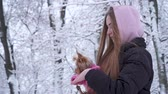 jorkšírský : Portrait cute young girl with long hair covered with a hood holding a yorkshire terrier dressed in wool sweater on hands in a winter snow-covered park. Teenager and a dog on a walk outdoors. Dostupné videozáznamy