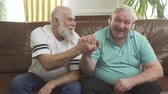 beyefendi : Portrait of two mature senior men sitting on the brown leather sofa. Happy people high five, takes each other hands. Leisure of the pensioners Stok Video