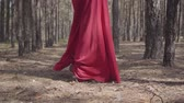 expressando : Beautiful graceful girl in a red dress walks in the pine forest. Pretty young woman walks between the pines.