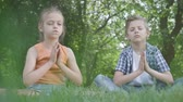 bratr : Pretty little girl and the handsome boy sitting on the grass meditating. Children are in yoga. The spiritual development of kids. Summertime leisure. Bottom view