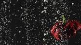 carbonated : Falling fresh strawberries and cherries splashing into sparkling water on black background. Close-up. Stock Footage