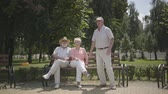 pensão : Two senior men and one woman waving hands in the park. Mature people resting outdoors, active lifestyle. Cheerful senior retired people. Vídeos