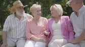 prarodič : Two cute mature couples talking and smiling sitting on the bench in the summer park. Double date of senior couples. Friendly company resting outdoors. Old men and women met together. Retired people. Dostupné videozáznamy