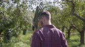 spade : Back view of young farmer walking through the garden with a shovel and pitchfork on his shoulder. Concept of rural life, fruit-growing, gardening