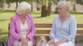 ginocchia : Nice mature caucasian women sitting at the bench in the summer park. Senior woman with blond hair complaining the pain in the knee to her friend. Elderly female advising effective pain medication. Filmati Stock