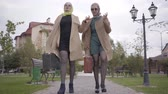 фрак : Two mature Caucasian female friends in elegant clothes and sunglasses walking in the city park and talking. Charming adult women with travel bags travelling together after retirement. Стоковые видеозаписи