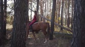 saddle : Side view of a Caucasian girl with long hair dressed in pink clothes riding brown horse in the autumn forest. Young female equestrian resting with her animal friend outdoors.