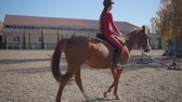 vista lateral : Slowmo of a Caucasian girl in pink clothes and helmet riding brown horse in the corral. Young female equestrian resting with her animal friend outdoors.