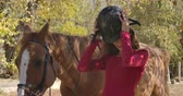 postroj : Professional female Caucasian jockey putting on horse riding helmet. Portrait of a young girl standing with brown horse in sunlight in the autumn forest. Cinema 4k footage ProRes HQ.