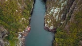 밀림 : Mountain River Flowing Landscape. Clip. Aerial Beautiful Mountain Stream
