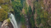 여름 : Big Waterfall From High Above In Tropical Jungle 무비클립