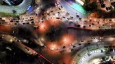 ring road : Aerial Fix Shot Of Roundabout City Traffic. Top View. Banten, Indonesia Stock Footage