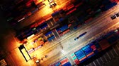 logistika : Aerial night Shot Of Harbor Container Yard. Top View. Jakarta. Indonesia Dostupné videozáznamy