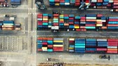 クレーン : Aerial Shot Of Port Container Yard.Top View. Export Import. Jakarta. Indonesia 動画素材