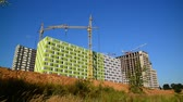 área de trabalho : Construction of houses of different architecture in Moscow, Russia Stock Footage