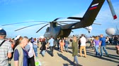 śruba : Zhukovsky, Russia - July 24. 2017. Russian heavy multipurpose transport helicopter Mi 26 at international aerospace show MAKS 2017 Wideo