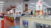 agd : Moscow, Russia - February 20, 2018. interior of store of electronics and home appliances Mvideo