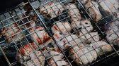 pork meat : barbecue of pork cooked on the grill Stock Footage